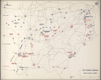 Poster, Many Sizes Available; Map Of Civil War Gettysburg Campaign, 1863