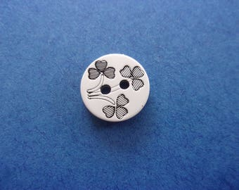 Button resin black and white flower bouquet, 2 holes - 1.2 cm