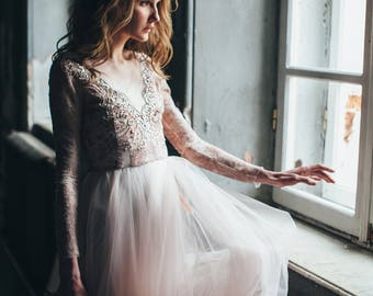Tulle wedding gown // Orchidee /Blush wedding dress, lace bridal gown, long sleeve dress, winter wedding dress, A line bridal dress