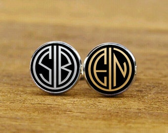 Monogram Cuff Links, 1920s Style, Monogrammed Initial Cufflinks, Custom 2 Letter, Groom, Groomsmen gifts, Round, Square Cufflinks, Tie Clips