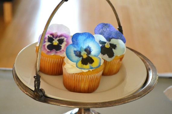 Edible Pansies- Pink, Purple, Blue - Cake & Cupcake toppers - Food Decoration