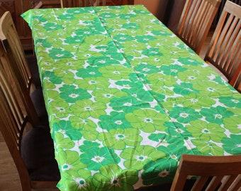 Green Table Runner Swedish Cotton Large Tablecloth Green White Buffet  Runner Floral Scandinavian Linen
