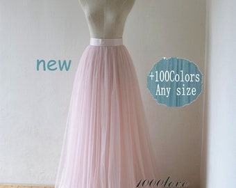 Blush pink floor length tulle skirt, bridesmaid tulle skirt,custom tulle wedding skirt with lace nad sash
