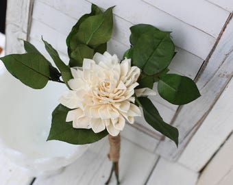 Ivory dahlia bouquet, Rustic Wedding, Country Wedding, Wedding Flowers, Bridal Bouquet, Wedding Bouquet, sola bouquet, sola flowers