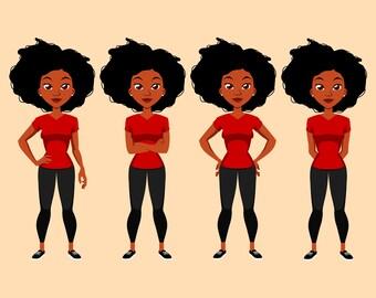 Black Female Clip Art | Digital PNG | Instant Download