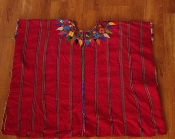 70s poncho style wide Mexican embroidered shirt