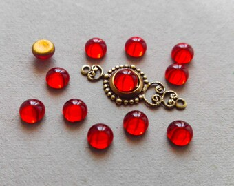 12Pcs Siam Ruby Gold Foiled Flat Back Vintage Czech Glass 5mm Cabs , Red glass 5mm cabochons, Red cabochon #C52