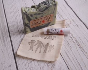 Zombie Gift Pack - zombie soap, lip balm and drawstring bag