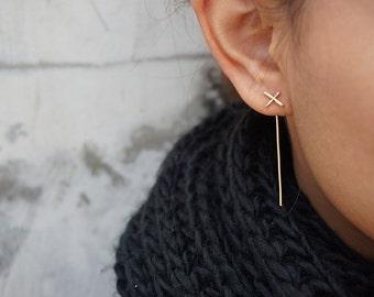 Minimalist Gold Earrings, Dainty Ear Jackets,  Long Gold Earrings, Gold x Earrings