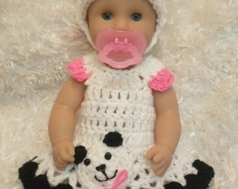 12  Inch Doll clothes,Panda bear Dress Set,12 Inch doll sets,Gifts for Kids.Panda bear Dress Hat and Shoes