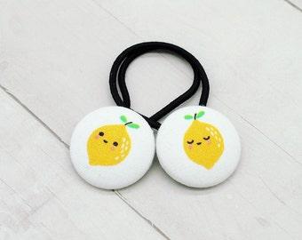 Lemon Hair Tie, Lemonade Ponytail Holder, Fruit Hair Accessory, Lemon Pigtail Set, Lemonade Stand Hair, Lemon Hair Elastic, Stocking Stuffer