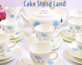 Wedgwood Ice Rose vintage tea set for six with teapot