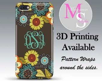 Monogram iPhone Case Personalized Phone Case Flower Shower Monogrammed iPhone Case, Iphone 4, 4S Iphone 5, 5C iPhone 6, iPhone 6 Plus #2501