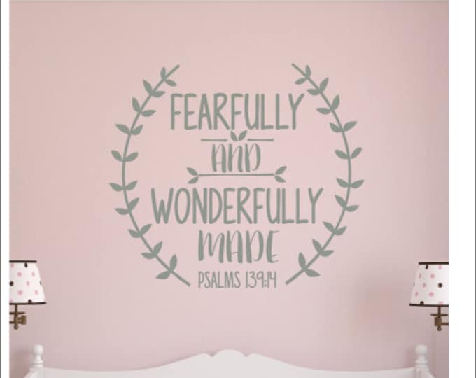 Fearfully and Wonderfully Made Decal Wall Decal Religious Scripture Decor New Baby Wall Decal Laurel Trendy Modern Nursery Decal Psalms 139
