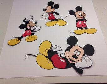 Set of 4 Mickey Mouse die cuts
