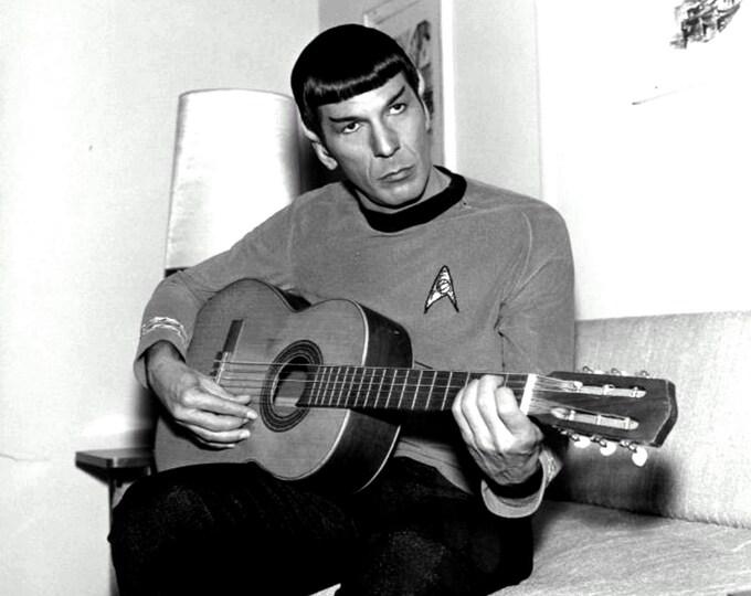"Leonard Nimoy as ""Mr. Spock"" Playing a Guitar - 5X7, 8X10 or 11X14 Publicity Photo (ZZ-578)"