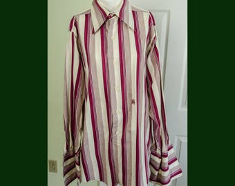 Vintage 1960's 1970's Men's Mod Stripped Dress Oleg Cassini Shirt Frenchcuffs