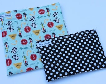 Reusable Sandwich Bag and Snack Bag Set Traffic Signs Black Polka Dots Eco Friendly