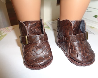 Woven Brown Boots  -Slip on Ankle Boots--for 18 Inch dolls--