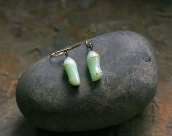 Art glass and 24k gold Monarch Chrysalis earrings