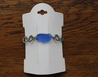 Cornflower Blue Beach Glass Bracelet