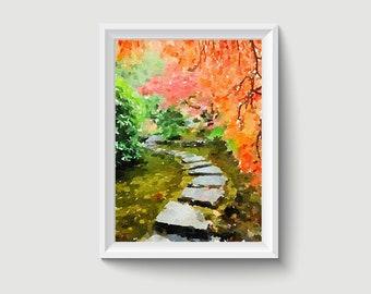 Butchart Japanese Garden Canada Watercolor Painting Art Printable Q05