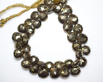 "Beautiful Natural Pyrite Faceted Heart Shape Beads - Pyrite Heart Shape Briolette , 9x9 - 10x10 mm , 8"" - BL954"