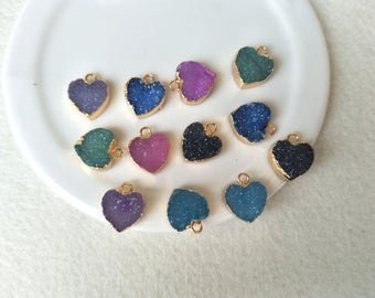 6 pcs 12mm Natural Druzy Heart pendant Gold Plated Rainbow Agate Druzy Geode Charm Druzy Charm Gemstone Pendant  Drusy Geode PD482