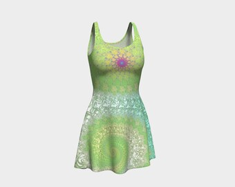 Pastel Green and Aqua Women's Flare Dress, Fractal Infinity Bohemian Fashion, Mandelbrot Sacred Geometry Millennial Festival Dance Clothes