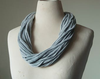 Recycled T-Shirt Necklace Gray