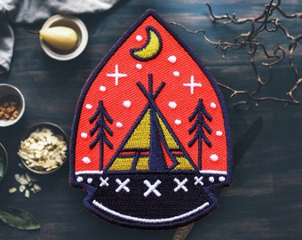 "Arrowhead Camping Patch | Sew On | Embroidered | Patches for Jackets | 3.1"" (Free Shipping US)"