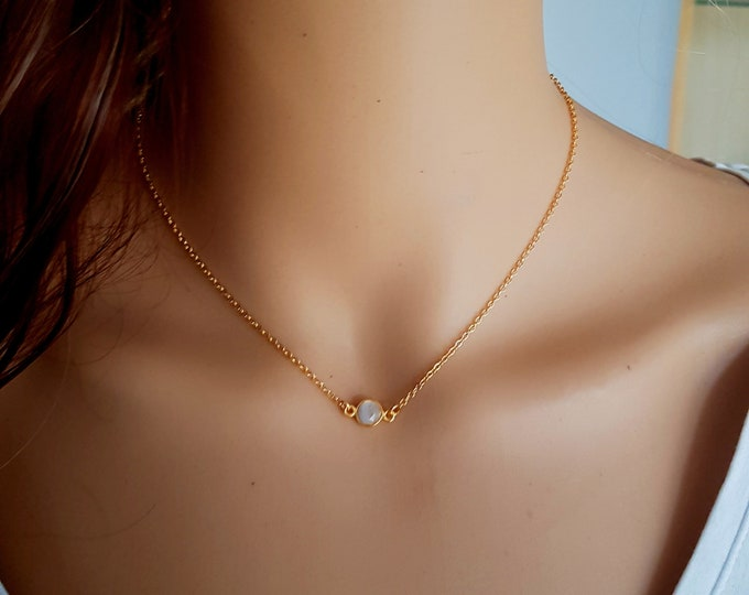 18K Gold fill tiny Moonstone necklace choker genuine white gemstone stacking layering June Birthstone jewellery minimalist Jewelry gift