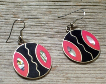 Colorful Enamel Earrings, Vintage Mexican Earrings, Abalone Shell Alpaca Metal, Black Coral Pink Pierced Dangle Earrings
