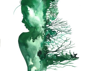 Finding Your Roots, print from original watercolor fashion illustration by Jessica Durrant