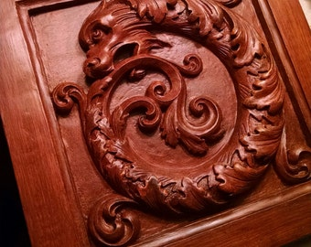 "Victorian ""Ouroboros"" in mahogany finish, classical architectural detail with carved griffin or dragon, Romantic Decor, Cast Shadows Studio"