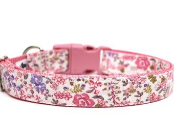 """Floral Dog Collar 3/4"""" or 1"""" Flower Dog Collar Vintage Floral Style Dog Collar"""