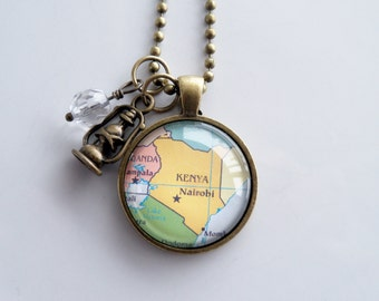 Map of Kenya - Map Pendant Necklace - Custom Jewelry - Travel Necklace - Adoption Jewelry - You Choose Bead, Charm - Personalized - Africa