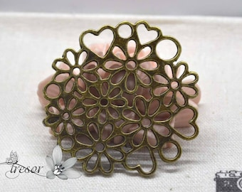 Set of 4 QZW094 pendants, bronze, flowers