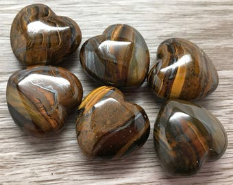 Tiger Iron Heart Crystals 30mm | Puffy Heart | Worry Stone | Palm Stone #H5