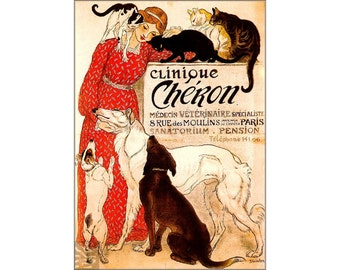 Veterinary Clinic Clinique Cheron French Vintage Poster Vintage Art Print Classic Retro Style Animals Pets Advertising