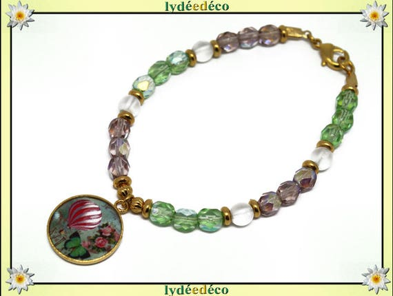 Resin brass gold 24 carat green white pink balloon plated bracelet beads faceted round