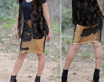 Matte Dark Gold/Black Pencil Skirt - Flip Sequin - Stretchy, beautiful (S,M,L,XL)  Ships asap! Runs bigger.