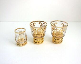 Vintage Painted Gold Scroll Floral Cordial Liqueur Shot Glasses - Set of 3
