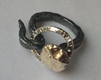 Sterling silver and gold Nail ring to order by AnOtherRing