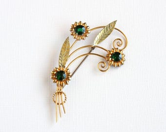 Vintage Hobson Brooch Green Rhinestone Flowers Leaves Wire Swirls Gold Plated Gold Fill Vintage Pin 1940s 1/20 12K Emerald Green Mid Century