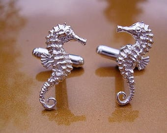 One Pair Seahorse Sterling Silver Cufflinks In Presentation Box