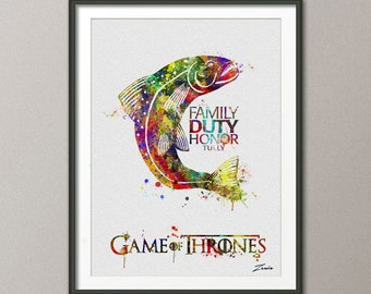 Game Of Thrones Art Print Watercolor Poster Fish Giclee A131 2