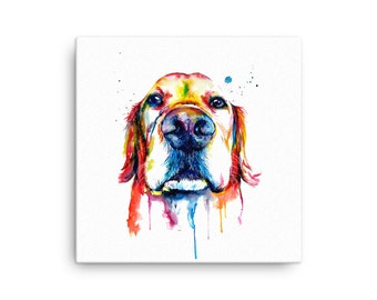 Colorful Golden Retriever Art Canvas of my Original Watercolor Painting