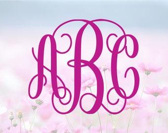 Interlocking Vine Monogram SVG, Alphabet Letters SVG, Monogram Font, SVG Cutting Fonts, Svg File, Svg files for silhouette