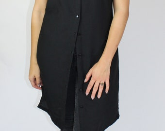Black Shirt Dress with Red/Gold Detail
